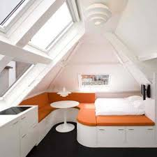 bedroom cool small attic bedroom ideas with white and orange bed