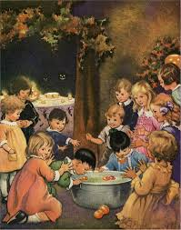 old halloween kids bobbing for apples graphic the graphics fairy