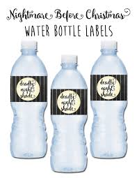 nightmare before christmas water bottle labels birthday party