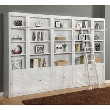 Large White Bookcase by Black Melamine Trays Leaning Leader Bookshelf With Wooden Based