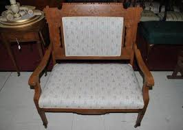 Sette Bench Small Antique Carved Oak Upholstered Settee Bench With Casters