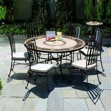 60 Inch Patio Table Blue Wave Mosaic Outdoor Chat Table Black Frontgate Patio