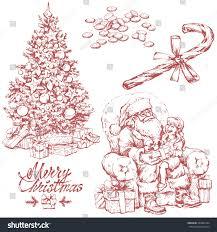 hand drawn sketches christmas tree santa stock vector 533889124