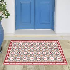 Red And Turquoise Area Rug Linoleum Area Rug With Spanish Tiles In Red And Blue Printed