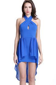 Navy Blue Lace Dress Plus Size Blue Cross Halter Chiffon High Low Dress Party Dresses Women