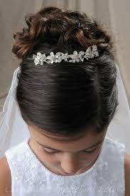 first communion tiara all silver flowers bridal wedding veils