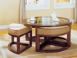 round living room table furniture round glass coffee table set with four ottomans