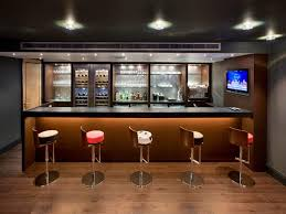 painting stylish stools in stunning mini bar with brown counter