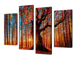 Living Room Art Canvas by Amazon Com Canvas Wall Art Red Tree Branches Sunset Forest Nature