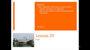 l29 dynamics lesson 29 rigid impulse momentum