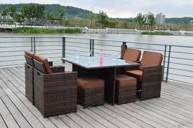 sunbrella 9 piece outdoor wicker rattan patio dining table set