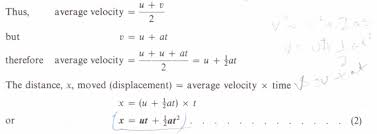 equations of uniformly accelerated motion physics homework help
