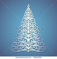 christmas tree cut out paper template stock vector 709640293