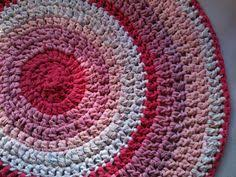 Crochet Rugs With Fabric Strips Ooak Hand Crochet Shag Rag Rug Pink Shag Rug Round By Madeofflaws