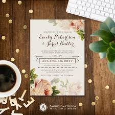 floral wedding invitation printable gentle cream roses rustic