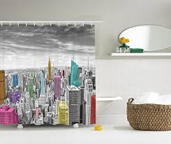 Yellow And Pink Bathroom Amazon Com Cityscape Decor Shower Curtain By Ambesonne Nyc New