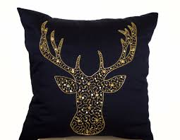 deer pillows animal pillow stag embroidered in gold sequin navy