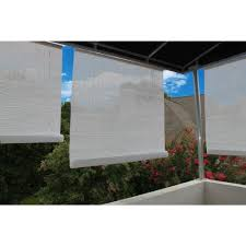 L Shade 96 In W X 72 In L White Exterior Roll Up Patio Sun Shade 0321087