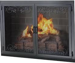 wood stove glass doors brass fireplace screen with glass doors home design ideas