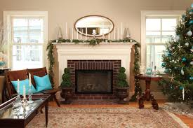 exterior design brick fireplace with oval mirror and blue and