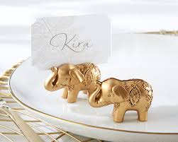 lucky golden elephant place card holders set of 6 kate aspen