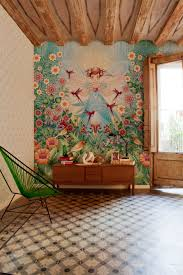 Garden Mural Ideas Bird Garden Illustrative Wallpaper Mural Interior Design Ideas
