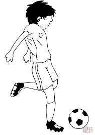 cartoon soccer player kicking ball coloring page free printable