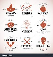 vintage typography halloween vector badges logos or labels pumpkin