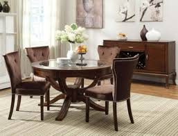 acme furniture kingston 5 piece round dining table set in brown