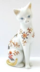 porcelain cat lovely figurines gzhel multi color handmade
