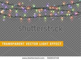 Christmas Decoration Lights Garlands Christmas Decorations Lights Effects Isolated Stock