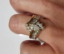 marquise bridal set 14k yellow gold engagement ring