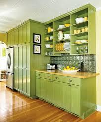 Eco Kitchen Design Green Kitchen Cabinets With Black Appliances Environmentally