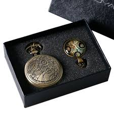 necklace set gift box images Bronze doctor who theme antique pocket watch set with dr who jpg
