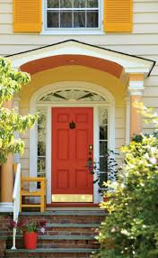 house entrance with orange front door feng shui for your front