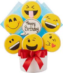 halloween cookie tins happy birthday emoji cutout cookie bouquet