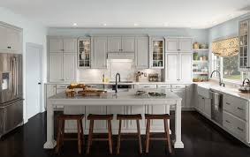 furniture white paint schuler cabinets with dark hardwood floor