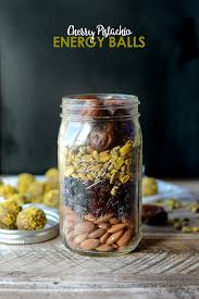 diy holiday in a jar cherry pistachio energy balls fit foodie finds