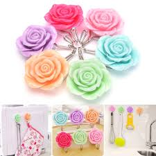 adhesive wall hooks 2 pcs stainless steel stick hangers holder hook cute roses flowers