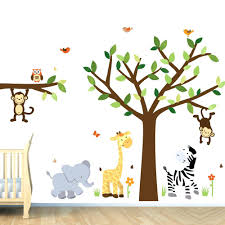 Giraffe Wall Decals For Nursery Wall Decal For Boys Monkey Wall Decal Jungle Animal Tree Decal