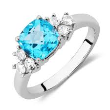 blue rings white images Ring with blue topaz created white sapphires in sterling silver jpg