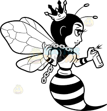 a queen bee spray painting the wall cartoon clipart vector toons