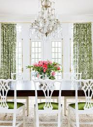 a popping palette offers a fresh look to a traditional home green roomsformal dining roomscolored dining chairsfabric dining room chairswhite