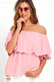 Blush Colored Blouse Boho Blush Pink Top Off The Shoulder Top Woven Top 44 00
