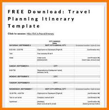 travel itinerary example road trip itinerary template download