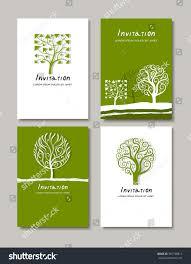 trees emblems logos design creative invitation stock vector