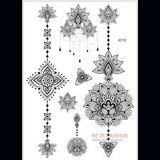 1piece indian designs lace flash tribal black white henna