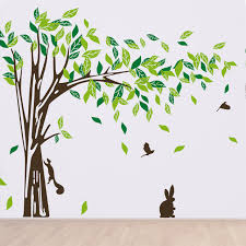 cozy homy beautiful tree wall decals trees birds rabbits for