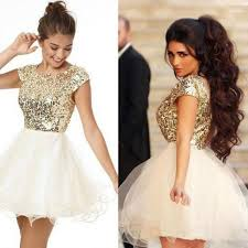 short sleeves sequin shiny open back gold homecoming dresses