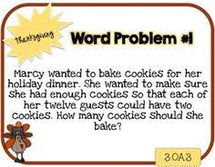 thanksgiving math 3rd school thanksgiving words
